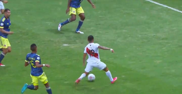 Yotún puso el 0-1 favorable a Perú. Twitter/Copa América