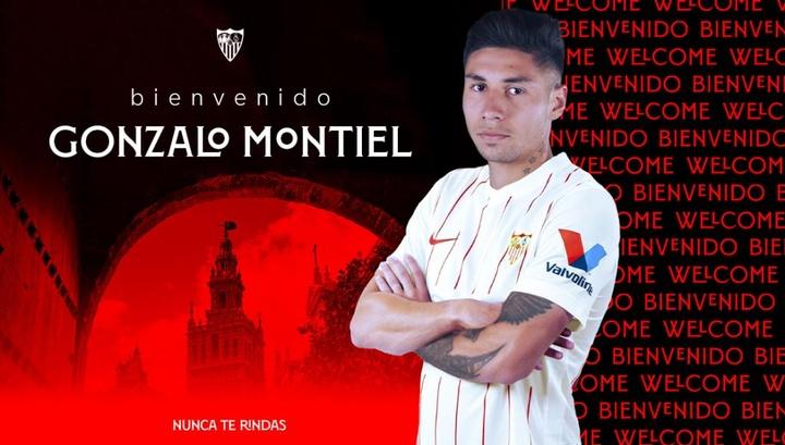 Gonzalo Montiel llega a Sevilla por unos diez millones de euros. Twitter/SevillaFC