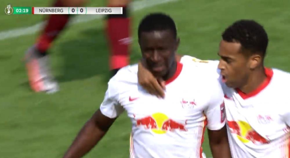 El RB Leipzig se adelantó a los tres minutos. Captura/Movistar+