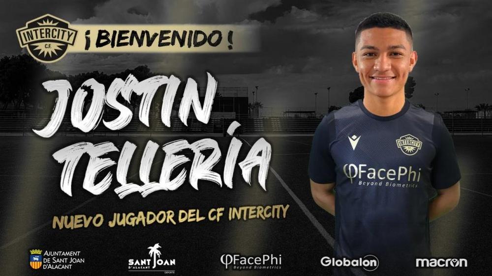 Jostin Tellería jugará esta temporada en el Intercity. Twitter/CFIntercity