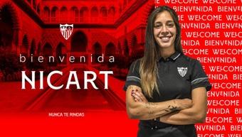 Paula Nicart jugó el pasado curso en el Espanyol. Twitter/SevillaFCFemenino