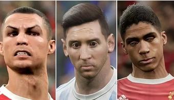 Les visages de Ronaldo, Messi et Varane dans le nouveau eFootball. eFootball