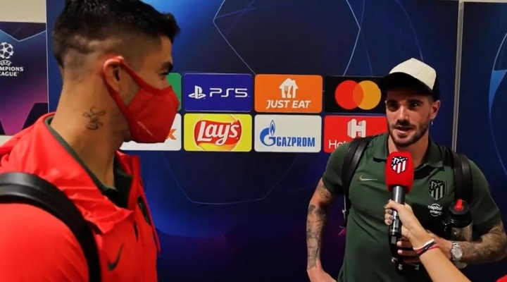 Luis Suárez y De Paul se entrevistaron mutuamente. Twitter/Atleti