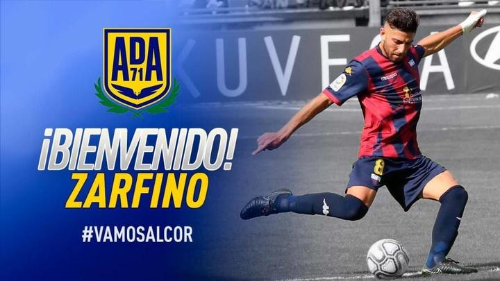Zarfino es nuevo jugador del Alcorcón. Twitter/AD_Alcorcon