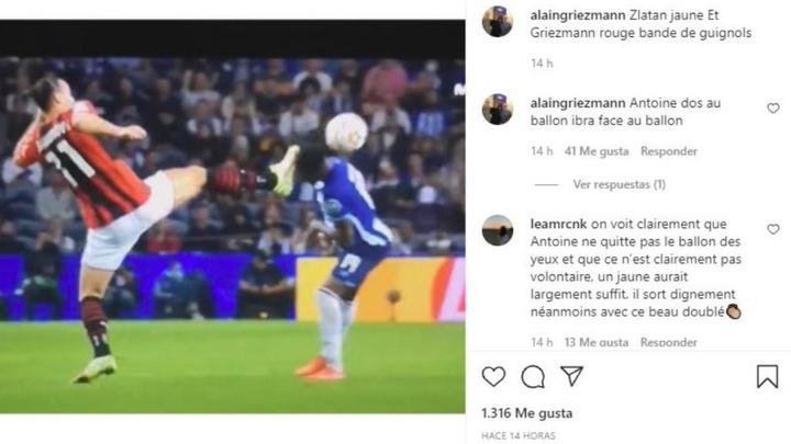 Pai de Griezmann perde a cabeça.Instagram/alaingriezmann