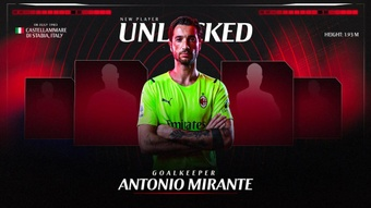 El Milan confirmó el fichaje de Mirante. Twitter/acmilan