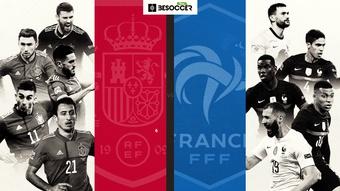 Todos los cara a cara por línea de la final entre España y Francia. BeSoccer Pro