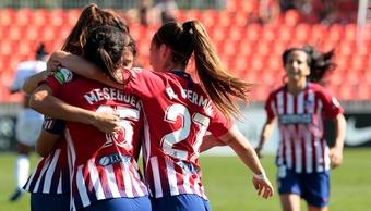 Olga y Chidiac se estrenaron como goleadoras en este partido. Twitter/AtletiFemenino