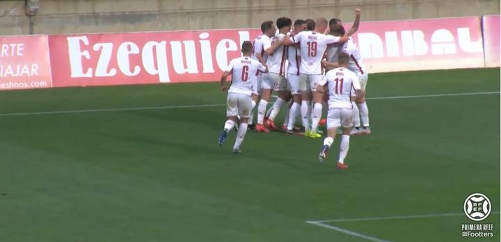 Doble empate en el inicio de la novena jornada de Primera RFEF. Captura/Footters