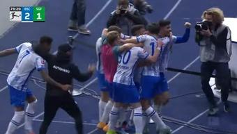El Hertha Berlin ganó 2-1 ante el recién ascendido Greuther Fürth. Captura/DAZN