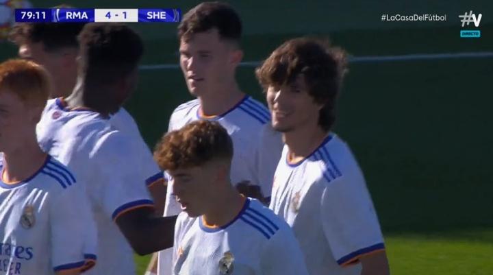 El Madrid impone la lógica con cuatro goles al Sheriff. Captura/Vamos