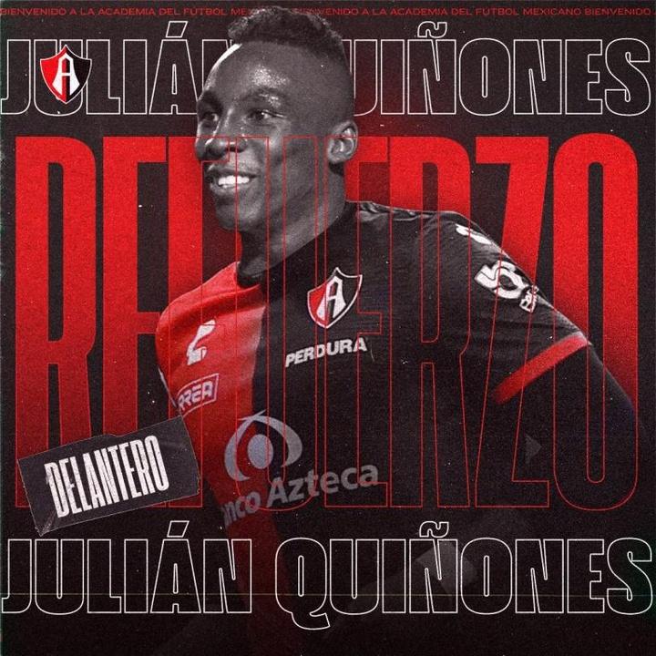 Julián Quiñones refuerza a Atlas del fútbol mexicano. Twitter/AtlasFC