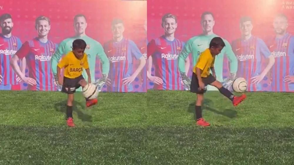 Karunavataram Dhyani, de la academia del Barcelona. Capturas/FCBarcelona