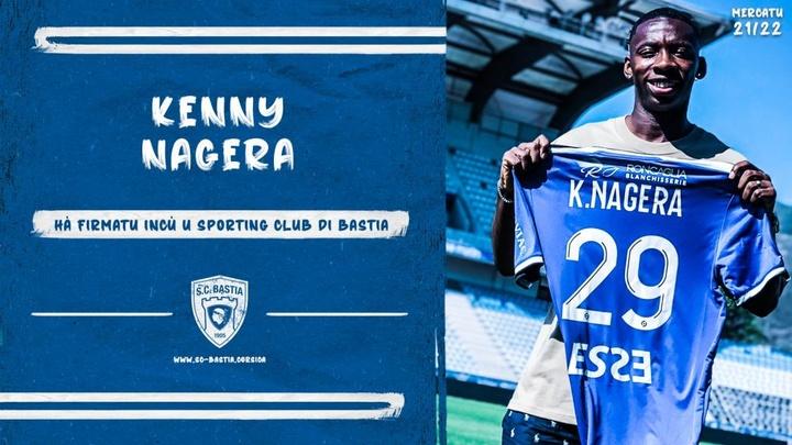 Nagera jogará no Bastia, da Ligue 2. Twitter/SCBastia