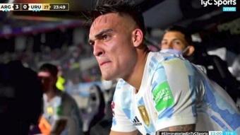 A Lautaro se le saltaron las lágrimas en la victoria ante Uruguay. Captura/TyCSports
