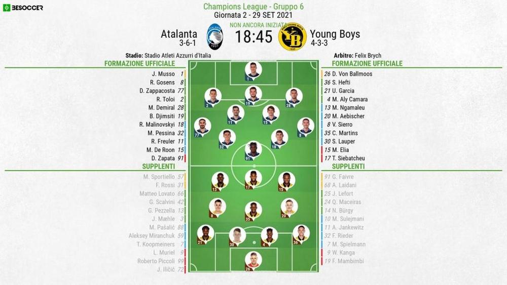 Le formazioni ufficiali di Atalanta-Young Boys. BeSoccer