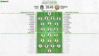 Le formazioni ufficiali di Italia-Bulgaria. BeSoccer