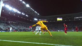 Lloris evitó el 1-0 de De Bruyne. Captura/TVE