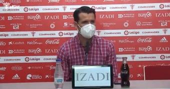 Lolo Escobar confía en la capacidad de mejora de su equipo. Captura/CDMirandés