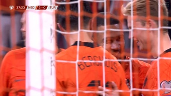 Memphis Depay was on fire as the Netherlands made it 3-0 before half-time. Screenshow/UEFATV