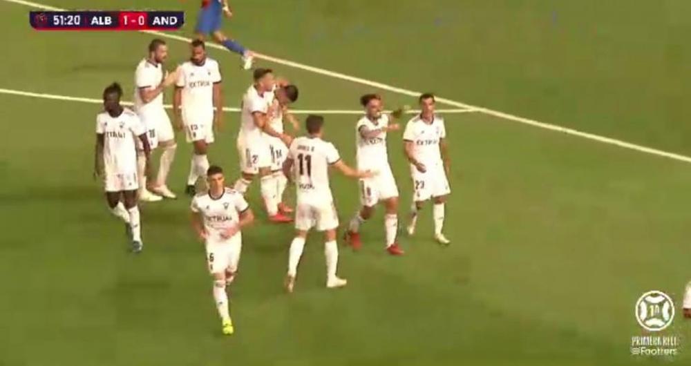 El gol de Fuster le dio la victoria al Albacete ante el FC Andorra. Captura/Footters