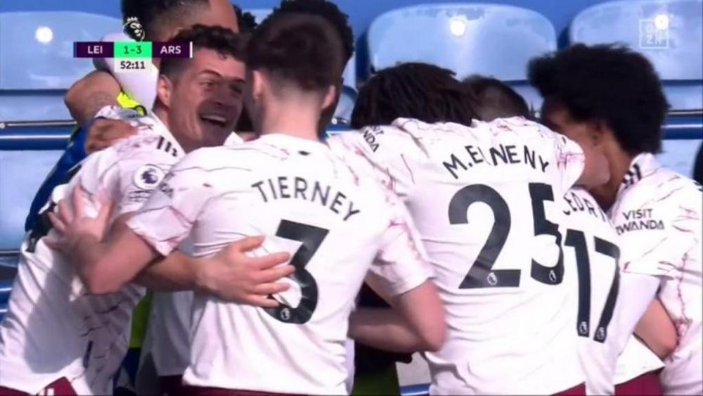 El Arsenal venció este domingo al Leicester. Captura/DAZN