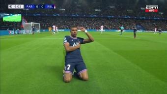 Mbappé puso el 1-0 para el PSG. Captura/ESPN