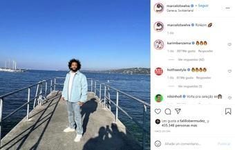 Marcelo publicó una foto de su viaje a Ginebra, Suiza. Instagram/marcelotwelve