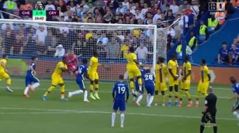 Marcos Alonso scored a wonderful free-kick goal. Screenshot/DAZN