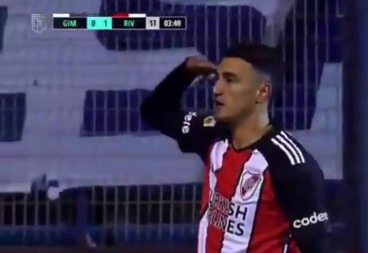 Matías Suárez dedicó su gol a Borré. Captura/TNTSports