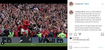 Cristiano Ronaldo falou após sua volta ao United. Instagram/cristiano