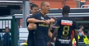 Repóker de Frey: marcó los cinco goles del Amberes en apenas una hora. Captura/TivibuSpor