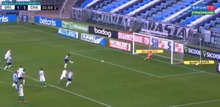 Miguel Borja marcó su primer tanto con Gremio de penalti. Captura/SportTV