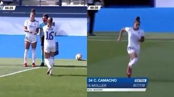 Carla Camacho debutó en la victoria frente al Eibar. Captura/Twitter/CarlaCamacho