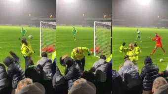 Shocking penalty in FA Cup hits steward in the face