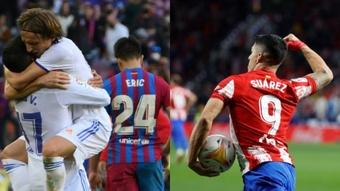 El Madrid ganó el 'Clásico' a un Barça sin pólvora en lo que Suárez firmaba un doblete. AFP-EFE