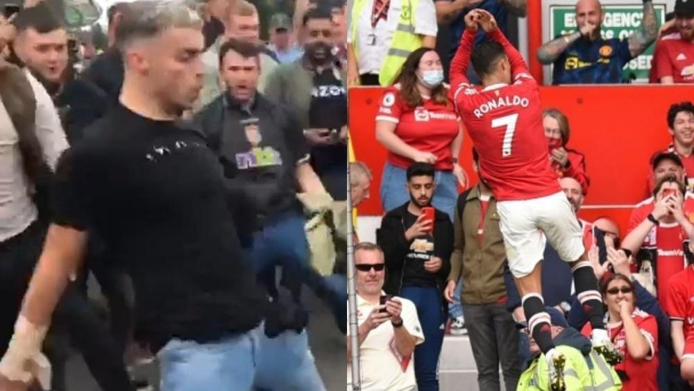 Cristiano ronaldo chambré par les supporters d'Aston Villa. AFP