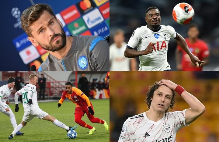 David Luiz, Fernando Llorente, Garry Rodrigues et Serge Aurier sont au chômage. AFP/EFE