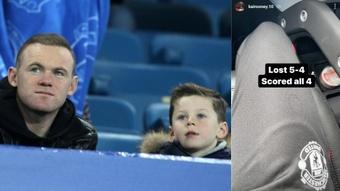 Kai Rooney marcó cuatro goles en su último partido ante el Liverpool. Captura/AFP/KaiRooney