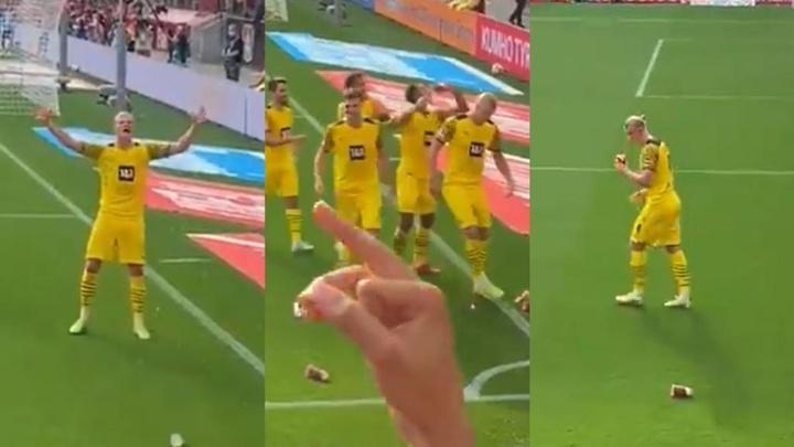 Así reaccionaron los del Borussia al lanzamiento de cerveza desde las gradas. Twitter/zeitgeist8020