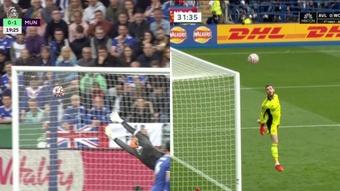 Greenwood y Tielemans marcaron los goles de la jornada en el Leicester-United. Captura/DAZN/NBC