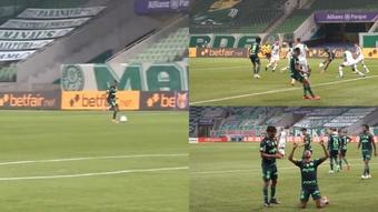 Wesley anotó un golazo para hacer el 2-0 de Palmeiras. Captura/Dugout