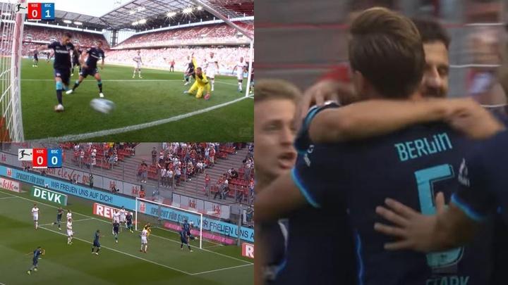 El montenegrino anotó con el Hertha en su debut en la Bundesliga. Captura/YouTube/Bundesliga