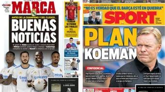 Capas da imprensa desportiva 15 de outubro de 2021.Marca/Sport
