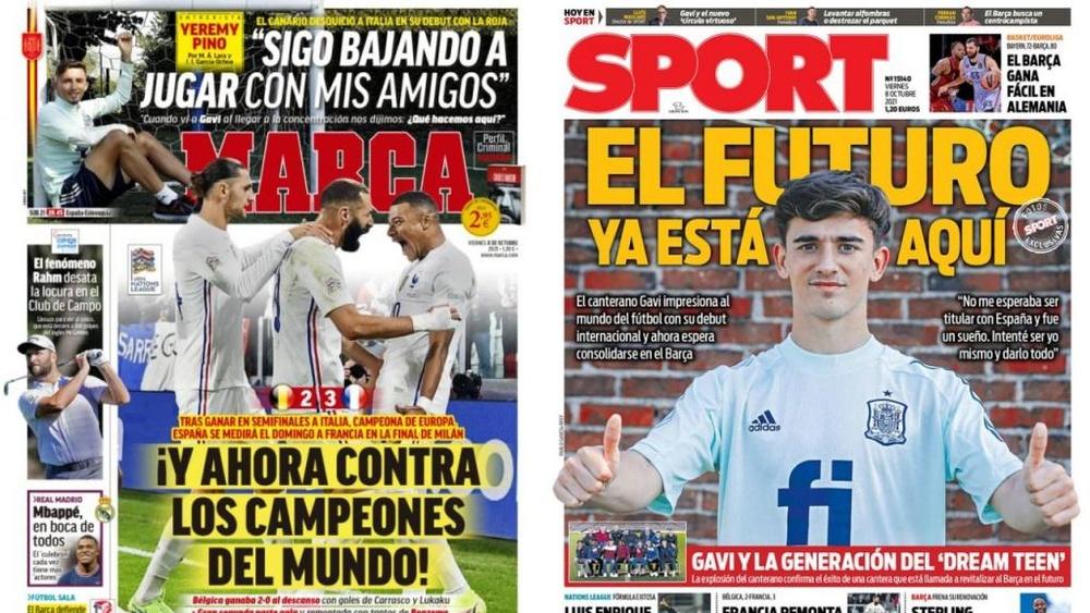As capas da imprensa de 8 de outubro de 2021. Montagem/Marca/Sport