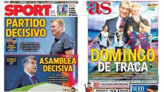 As capas da imprensa esportiva. AFP