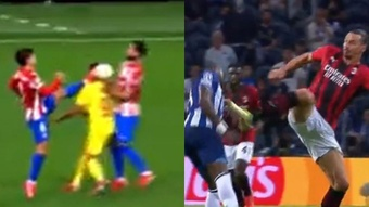 Two very similar actions but a very different punishment. Screenshot/BeINSports/ESPN