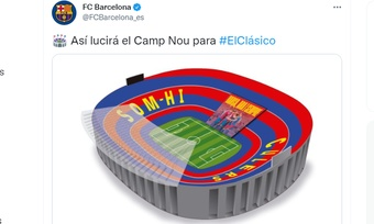 El Barça prepara su mosaico para el 'Clásico'. Captura/Twitter/FCBarcelona_es