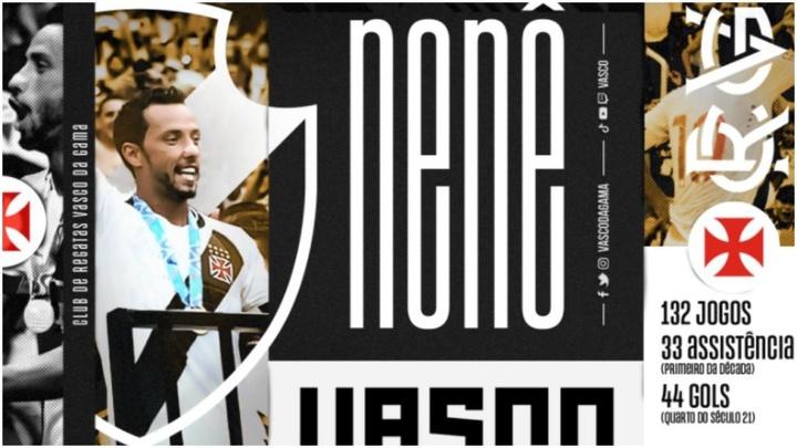 Nené jugará en Vasco da Gama hasta finales de 2022. Captura/Vasco