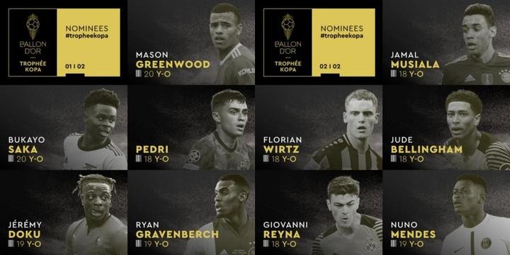 Estos son los diez nominados al Premio Kopa. Twitter/FranceFootball